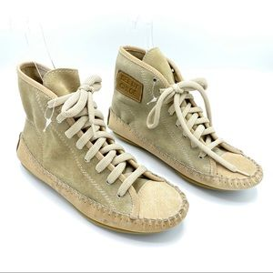 See by Chloe Suede Lace Up Sneakers Beige
